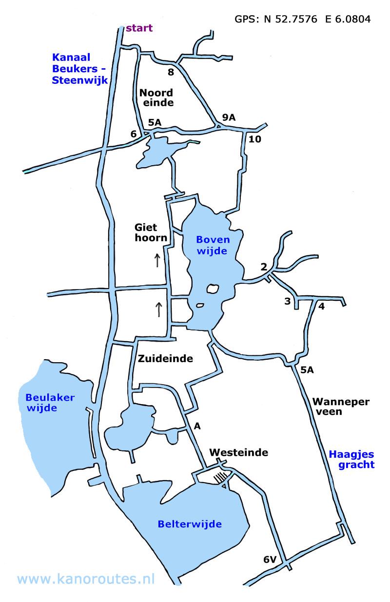 Giethoorn Karte.Kayak Route Giethoorn